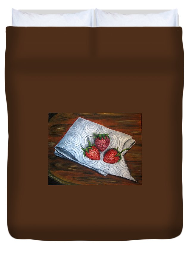 Strawberries Duvet Cover featuring the painting Strawberries-3 Contemporary Oil Painting by Natalja Picugina