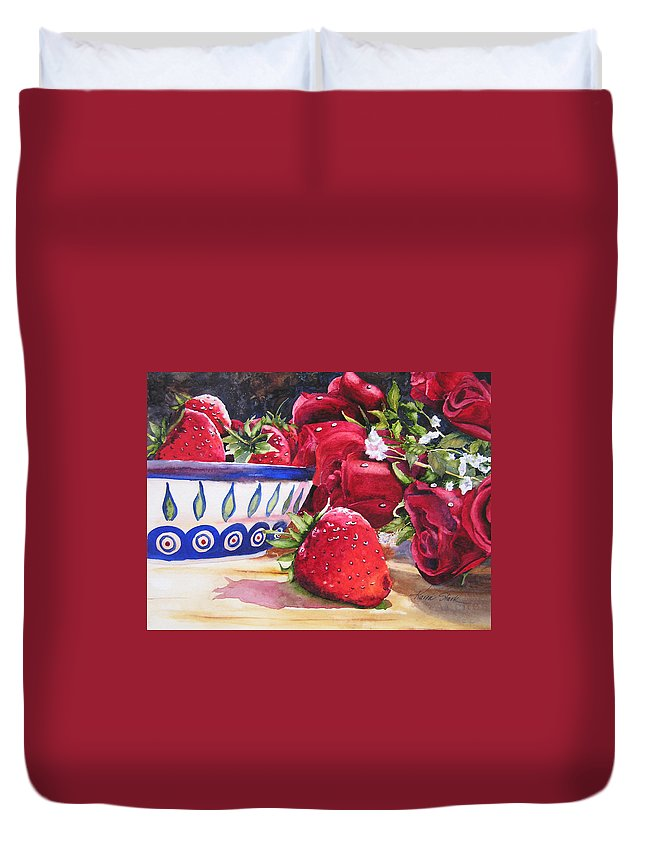 Strawberries Duvet Cover featuring the painting Strawberries and Roses by Karen Stark