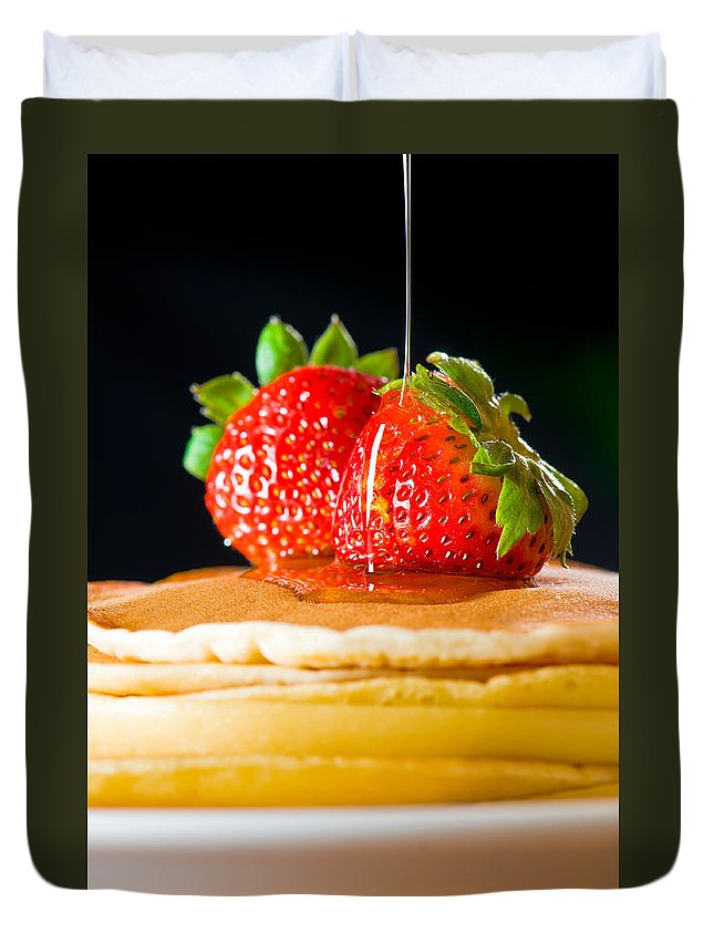 Berries Duvet Cover featuring the photograph Strawberry Butter Pancake With Honey Maple Sirup Flowing Down by U Schade