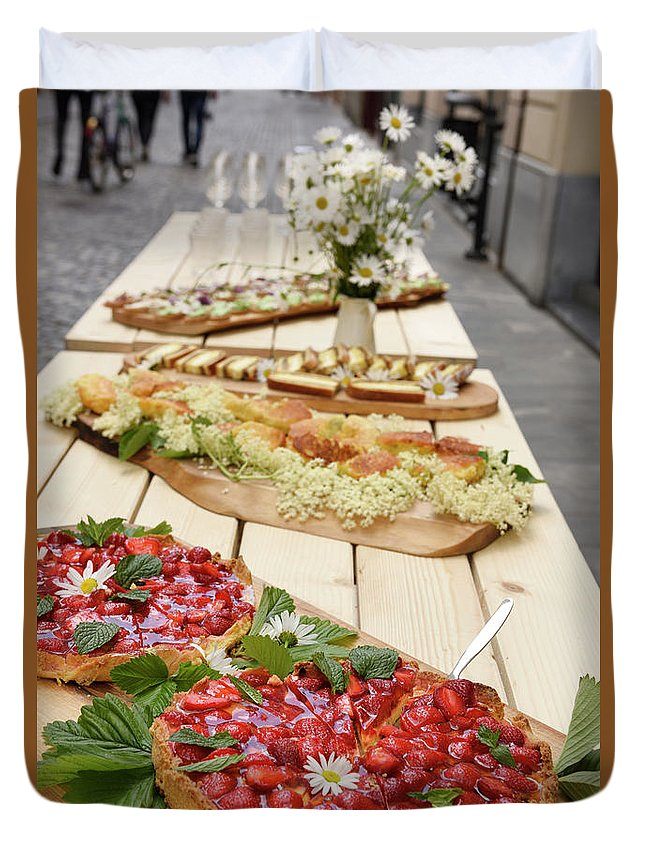 Strawberry Duvet Cover featuring the photograph Strawberry Cake And Other Snacks On A Wood Table Outdoors On Sta by Reimar Gaertner