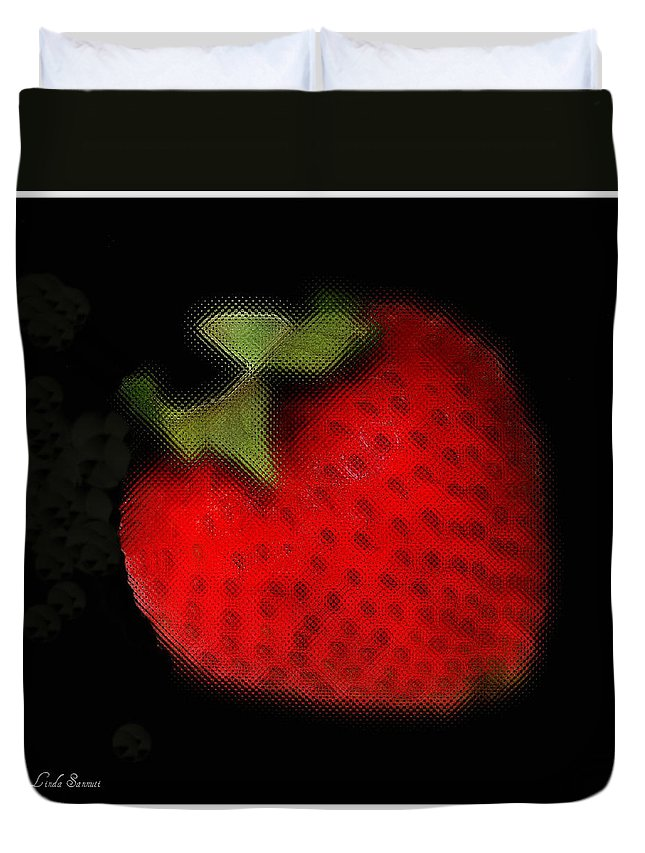 Still Life Duvet Cover featuring the photograph Strawberry by Linda Sannuti