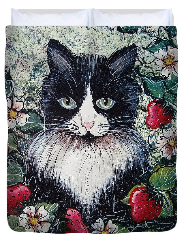 Cat Duvet Cover featuring the painting Strawberry Lover Cat by Natalie Holland