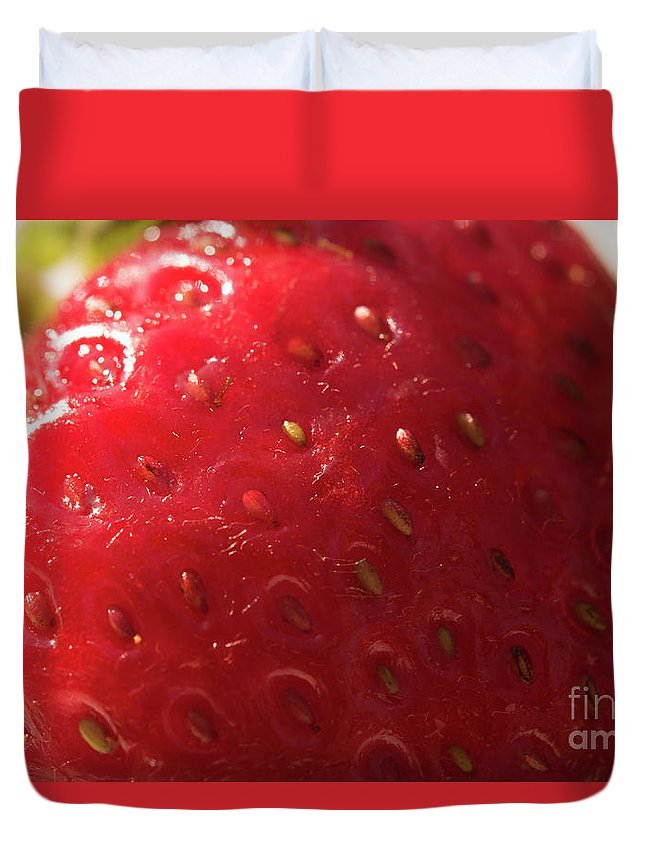 Strawberry Duvet Cover featuring the photograph Strawberry Macro by Michelle Himes