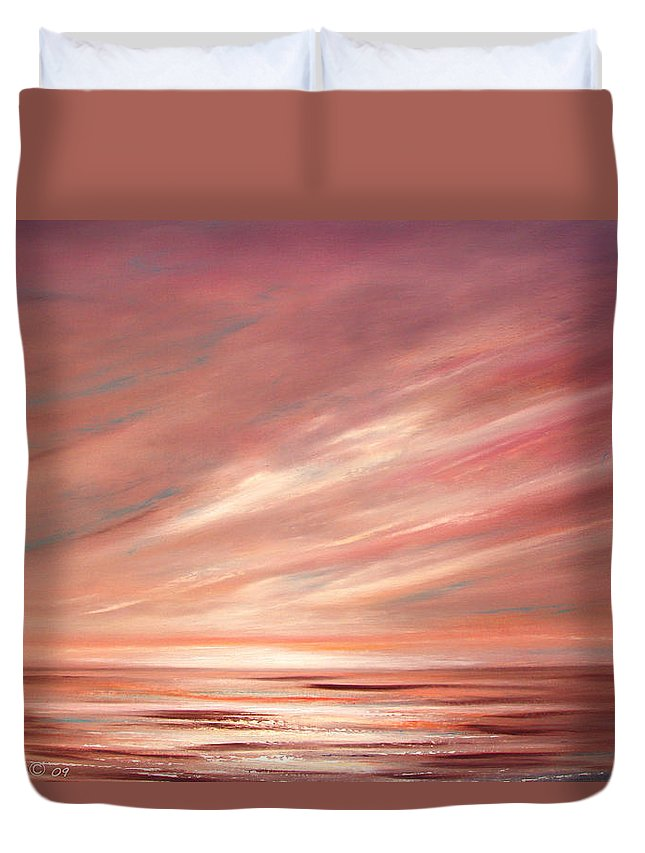 Sunset Duvet Cover featuring the painting Strawberry Sky Sunset by Gina De Gorna