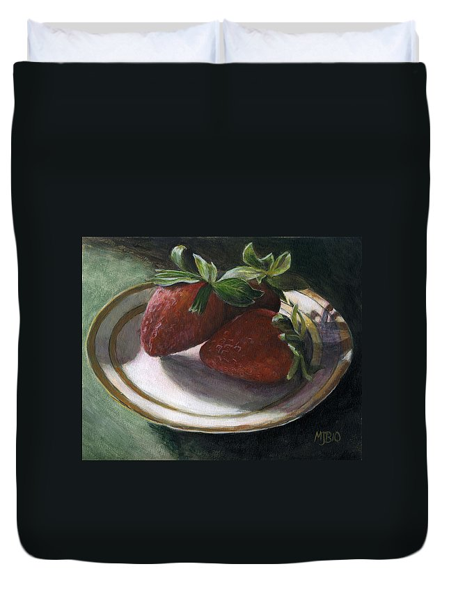 Strawberries Duvet Cover featuring the painting Strawberry Still Life by Michael Beckett