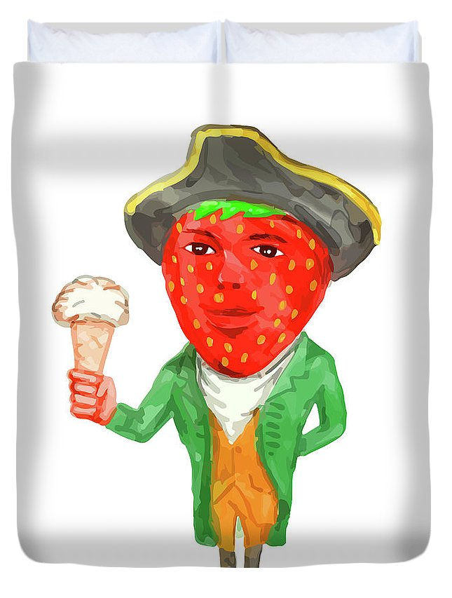 Watercolor Duvet Cover featuring the digital art Strawberry Tricorn Hat Ice Cream Victorian Gentleman Watercolor by Aloysius Patrimonio