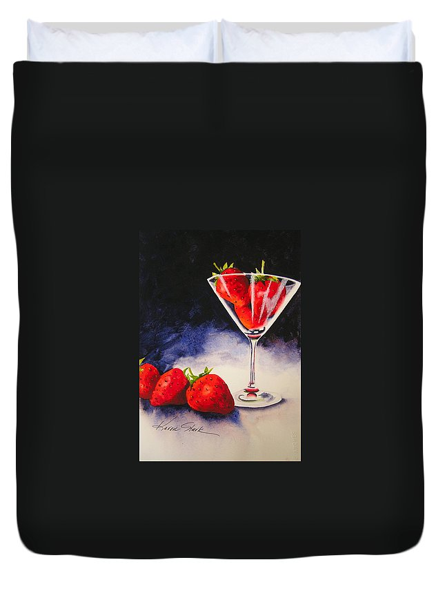 Strawberry Duvet Cover featuring the painting Strawberrytini by Karen Stark