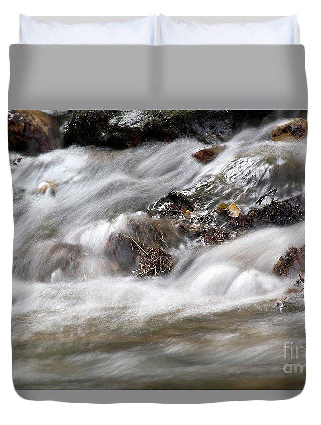 Stream Duvet Cover featuring the photograph Stream Nature Spring Scene by Goce Risteski