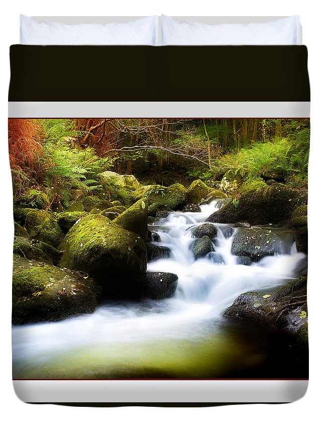 Stream Duvet Cover featuring the photograph Stream Steps by Mal Bray