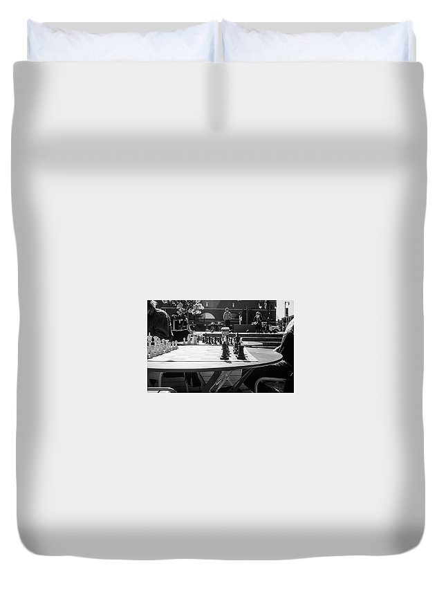 Olympus 35sp / Neopanacros100 Duvet Cover featuring the photograph Street Chess 2 by Andre Thibault