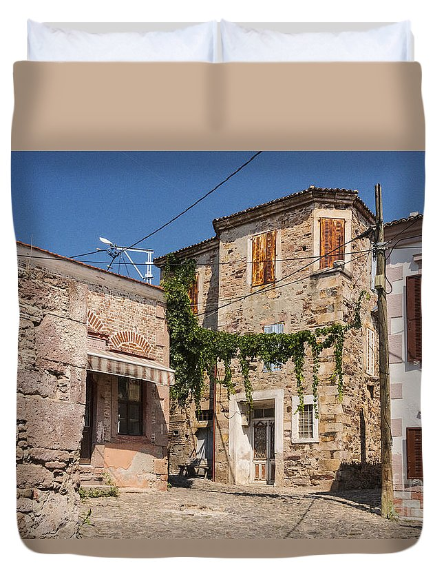 Cunda Island Turkey Building Buildings Structure Structures Architecture City Cities Cityscape Cityscapes Window Windows Door Doors Shutter Shutters Home Homes House Houses Stone Stones Cobblestone Cobblestones Street Streets Lane Lanes Duvet Cover featuring the photograph Street Corner by Bob Phillips