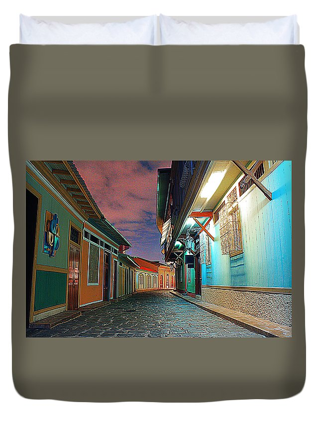 Street Duvet Cover featuring the photograph Street by Francisco Colon