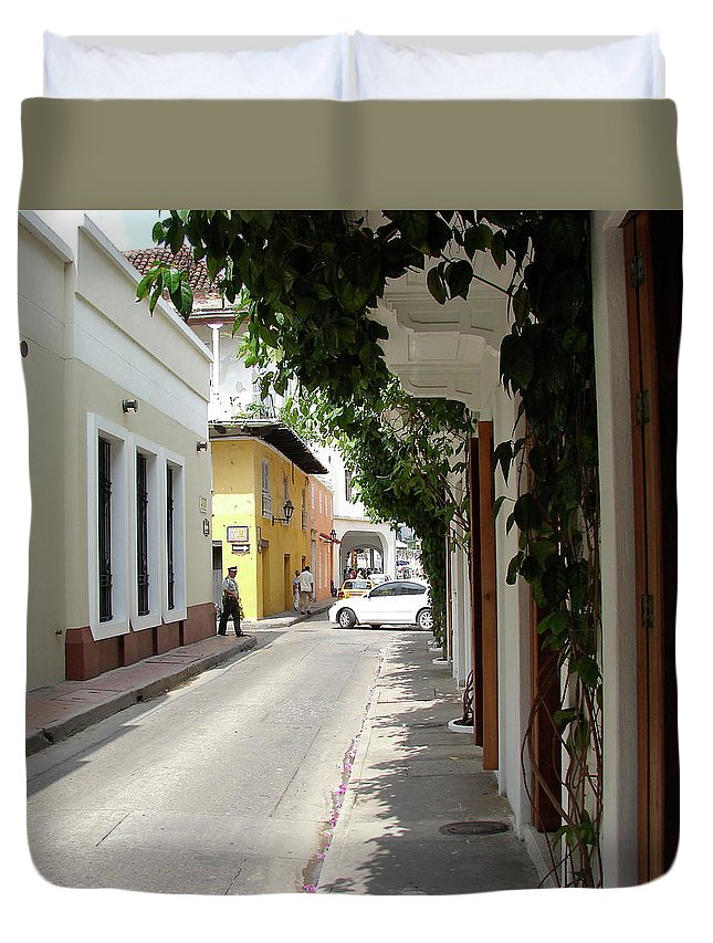 Street Duvet Cover featuring the photograph Street In Colombia by Brett Winn