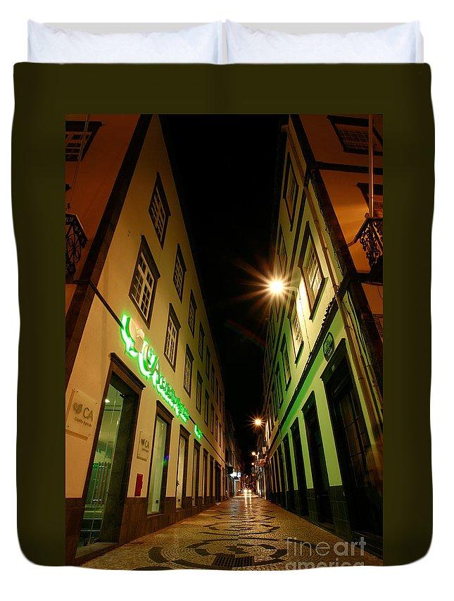 Portugal Duvet Cover featuring the photograph Street In Ponta Delgada by Gaspar Avila