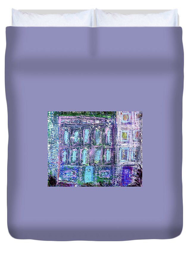 Street Duvet Cover featuring the painting Street Life by Wayne Potrafka