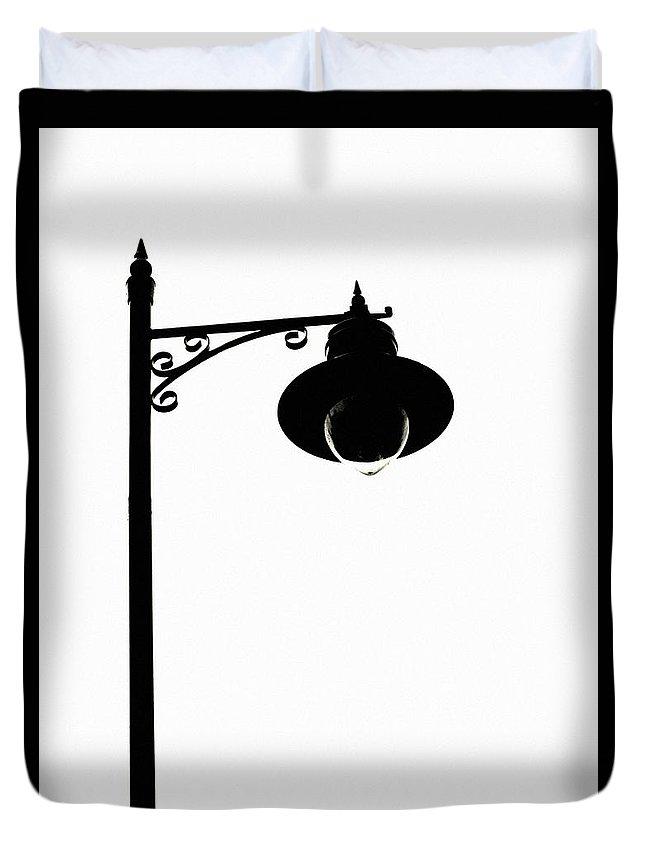 Street Light Duvet Cover featuring the photograph Street Light Silhouette by Martine Murphy