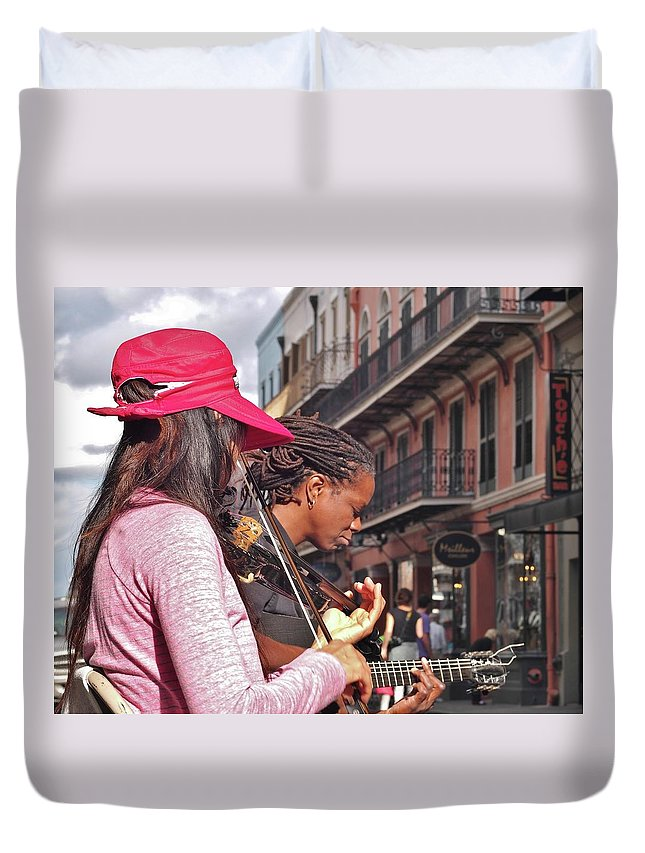 Street Musicians Duvet Cover featuring the photograph Street Musicians by William Morgan