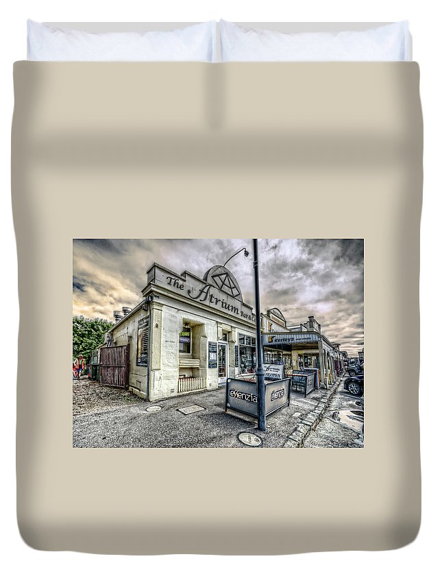 Queenscliff Duvet Cover featuring the photograph Street Narrative by Wayne Sherriff