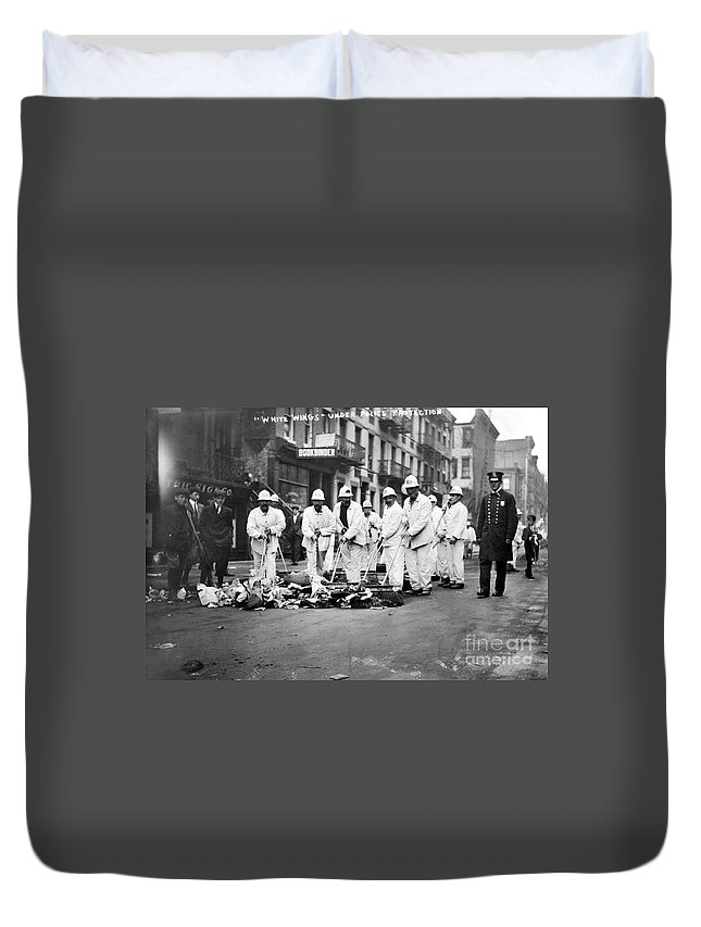 1911 Duvet Cover featuring the photograph Street Sweepers, 1911 by Granger