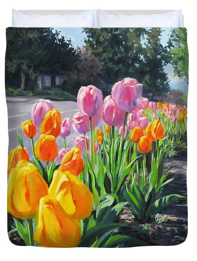 Large Duvet Cover featuring the painting Street Tulips by Karen Ilari