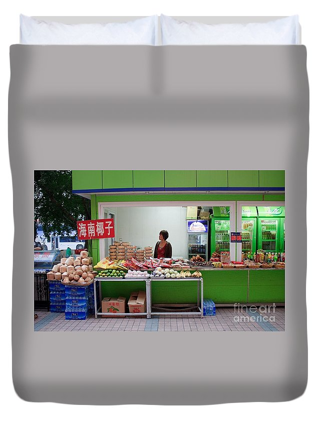 Stand Duvet Cover featuring the photograph Street Vendor Beijing by Thomas Marchessault