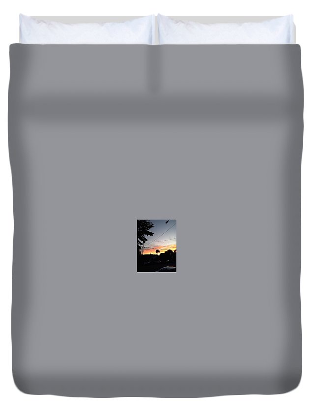 Sunset Duvet Cover featuring the photograph Street View by Jaime Paberzis