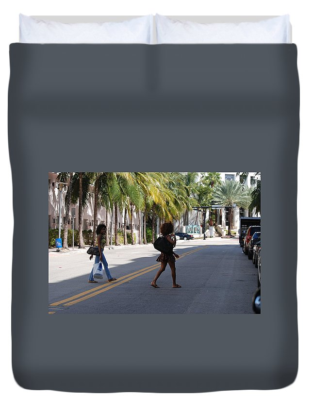Girls Duvet Cover featuring the photograph Street Walkers by Rob Hans