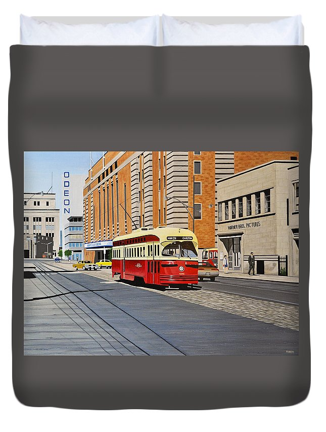 Streetcars Duvet Cover featuring the painting Streetcar On Carlton Circa 1970 by Kenneth M Kirsch