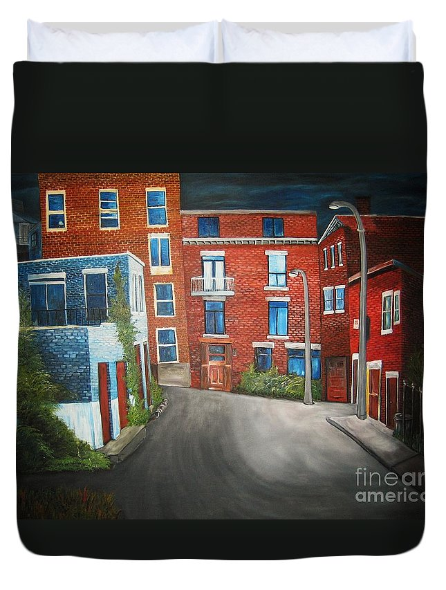 Montreal Duvet Cover featuring the painting Streets Of Montreal Joly by Reb Frost
