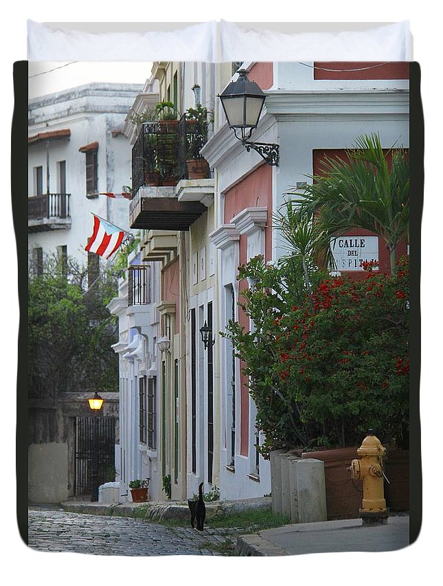 Old San Juan Duvet Cover featuring the photograph Streets Of Old San Juan by Suzanne Oesterling