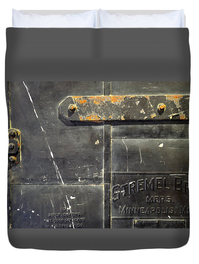 Firedoor Duvet Cover featuring the photograph Stremel Bros. Firedoor by Tim Nyberg