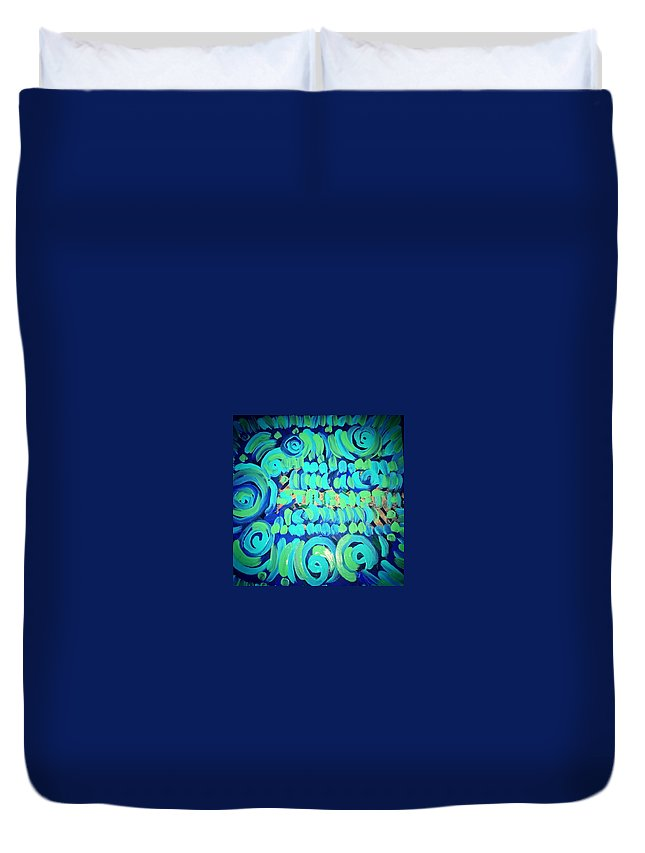 Love On Canvas Green Blue Ny African. Beautiful Duvet Cover featuring the painting Strength by Shanice Figeroux