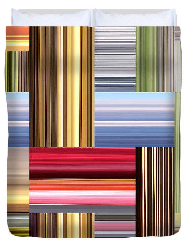 Graphic Design Duvet Cover featuring the digital art Stretch Of Colors by Phil Perkins