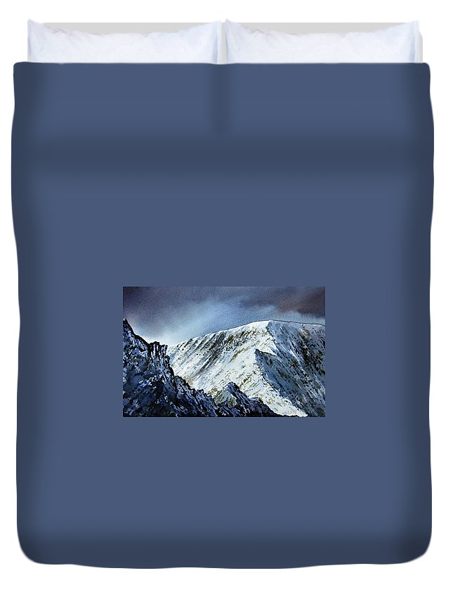Mountain Duvet Cover featuring the painting Striding Edge On Helvellin by Paul Dene Marlor