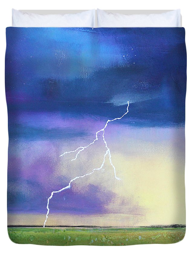 Sky Duvet Cover featuring the painting Strike From The Heavens by Toni Grote