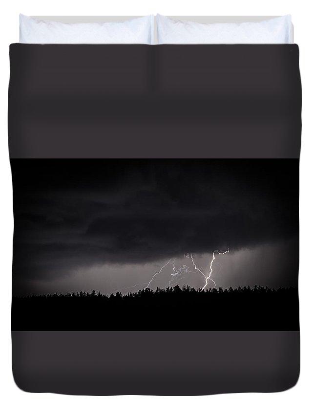Lightning Duvet Cover featuring the photograph Strike Three Of Thousands by Omer Vautour