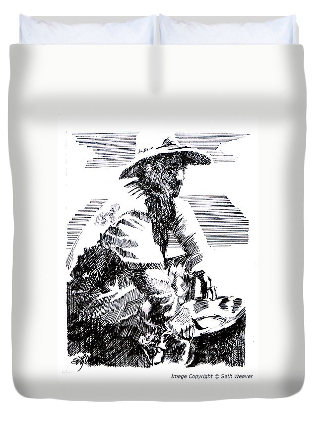 1850's Old West Duvet Cover featuring the drawing Striking It Rich by Seth Weaver