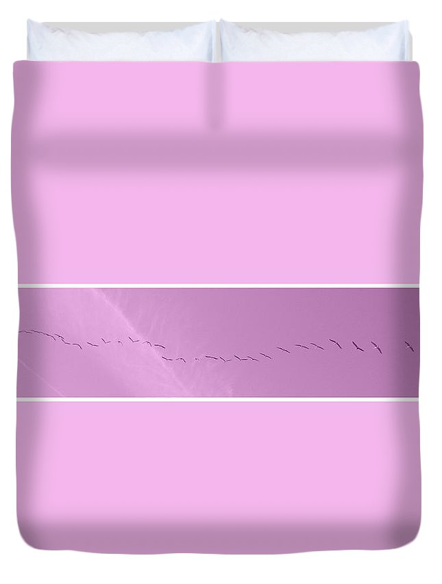 Birds Duvet Cover featuring the photograph String Of Birds In Rose Pink by Mary Mikawoz