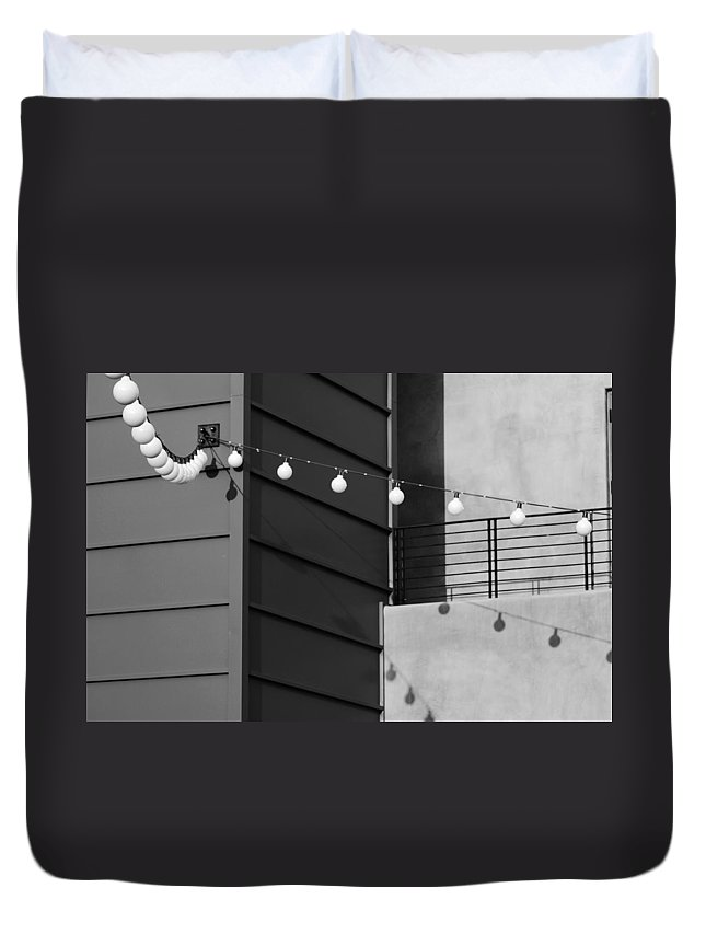 Black And White Duvet Cover featuring the photograph String Of Ideas Black And White by Jill Reger
