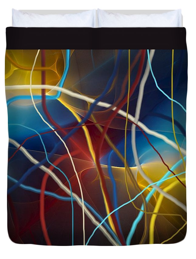 Fine Art Duvet Cover featuring the digital art String Theory by David Lane