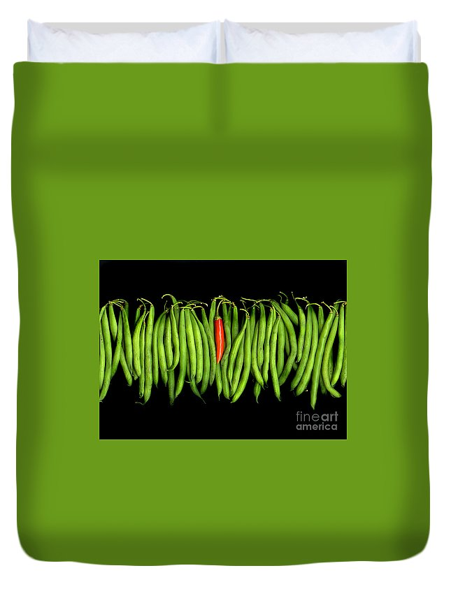 Culinary Duvet Cover featuring the photograph Stringbeans And Chilli by Christian Slanec