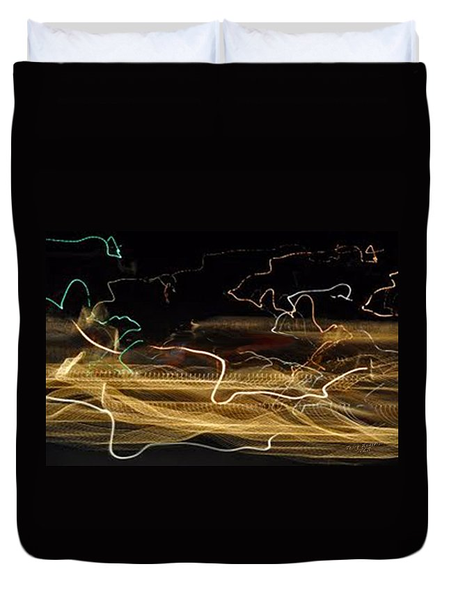 Abstracts Duvet Cover featuring the digital art Strings Of Light by Terry Anderson