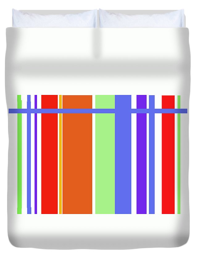 Patterns Abstract Reds Blues Duvet Cover featuring the digital art Stripes 101 by Suzanne Udell Levinger