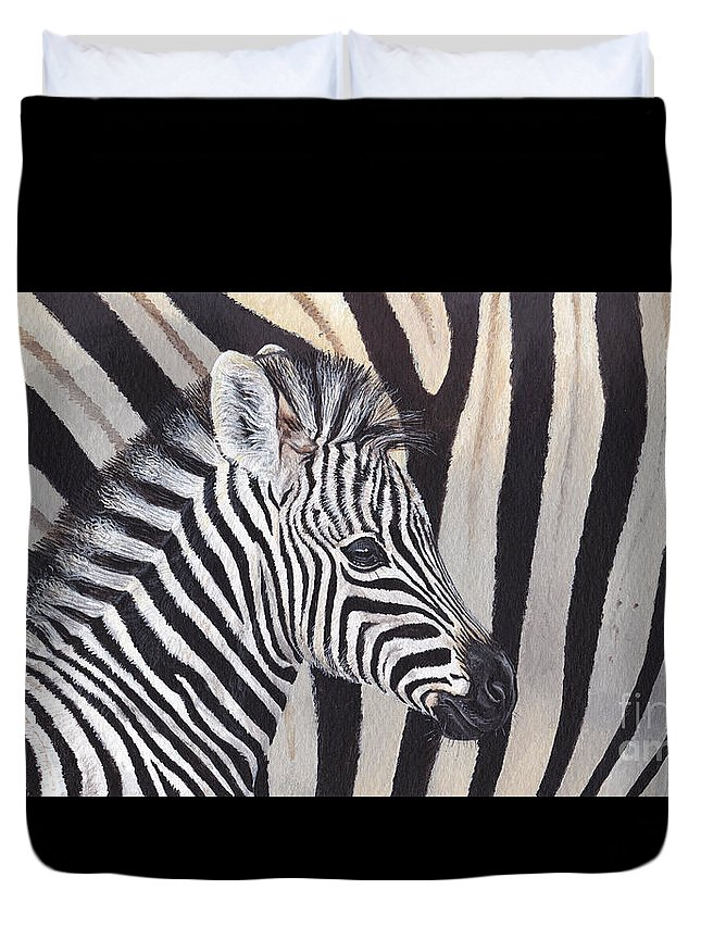 Zebra Duvet Cover featuring the painting Stripes by Morgane Antoine
