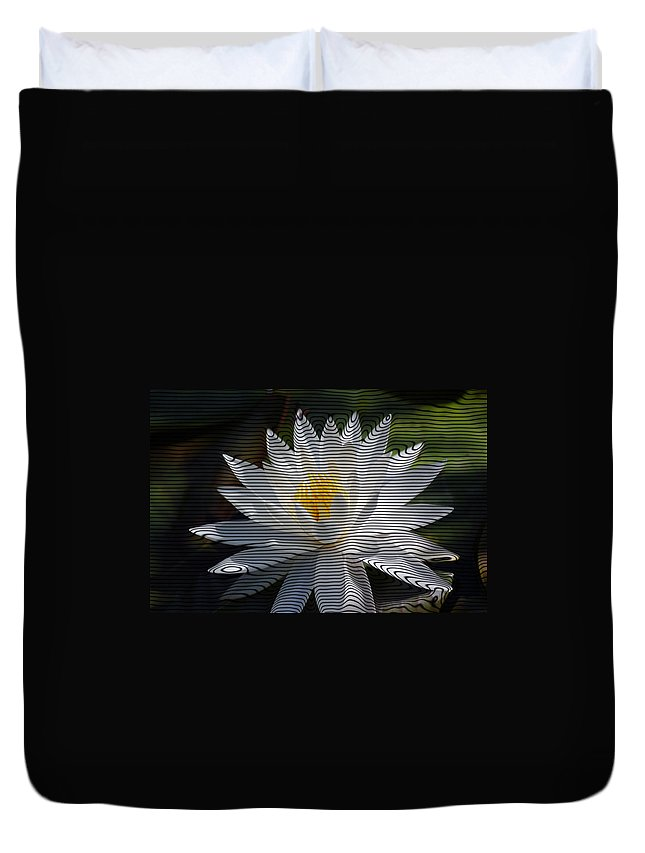 Waterlily Duvet Cover featuring the photograph Stripped Waterlily by Donna Bentley
