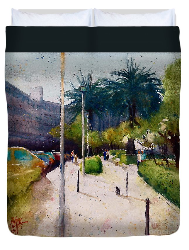 Watercolor Duvet Cover featuring the painting Stroll by Andre MEHU