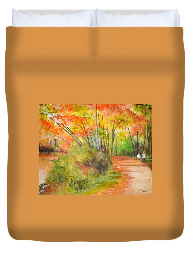Landscape Duvet Cover featuring the painting Strolling Along The Canal by Jean Blackmer