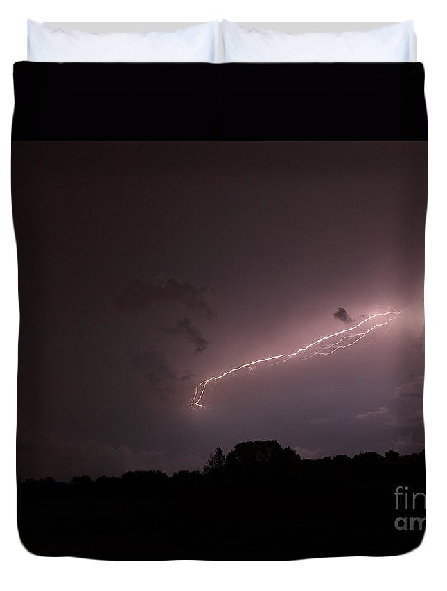 Lightning Duvet Cover featuring the photograph Strong Arm by Amanda Barcon