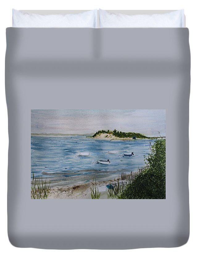 Strong Island Duvet Cover featuring the painting Strong Island by Donna Walsh