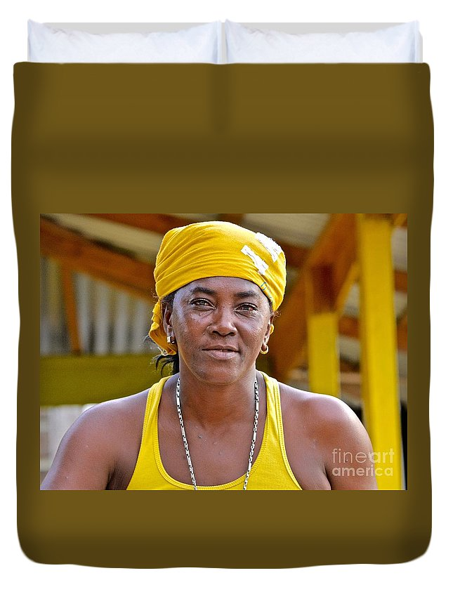 Negril Duvet Cover featuring the photograph Strong Woman by Andrea Spritzer